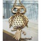 3 inch Swarovski Crystal Retro Copper Owl Necklace Pendant Vintage
