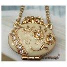 Lovely Swarovski Crystal Retro Copper Locket Necklace Pendant Vintage