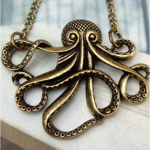 Elegant Brass Octopus design Pendant Necklace