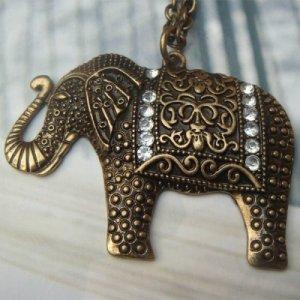 Elegant Brass Elephant Crystal design Pendant Necklace