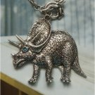 Elegant Silver Plated Crystal Dinosaur design Pendant Necklace