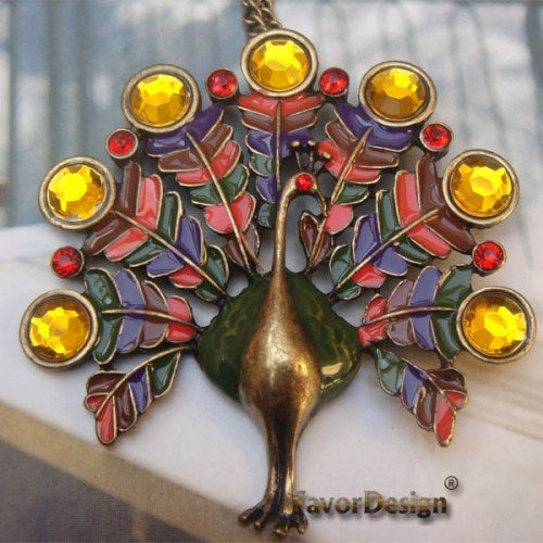 Elegant Brass Crystal Peacock design Pendant necklace