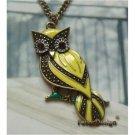 Elegant Brass Crystal Owl design Pendant necklace