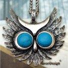 Elegant Silver Plated Crystal Owl design Pendant Necklace
