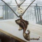 Elegant Retro Brass Peace Fish design Pendant 2-chain Necklace