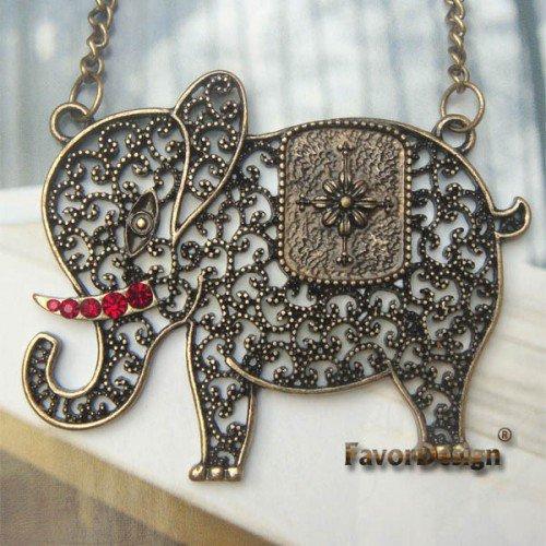 Elegant Retro Brass Crystal Elephant design Pendant Necklace