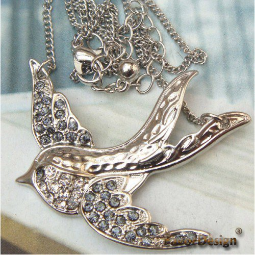 Silver Plated Crystal Swallow design Pendant Necklace