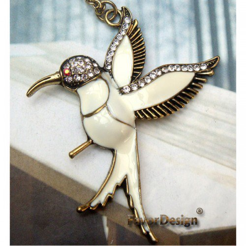Elegant Retro Brass Crystal Bird design Pendant Necklace