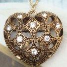 Retro Brass Crystal Heart art design Pendant Necklace Vintage Style