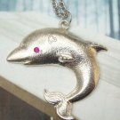 Silver Plated Retro Brass Dolphin art design Pendant Necklace