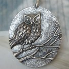 Silver Plated Owl Pendant Necklace Vintage Style