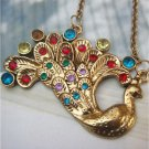 Retro Brass Swarovski Crystal Peacock Necklace Vintage Style