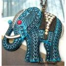 Retro Brass Swarovski Crystal Elephant Pendant Necklace Vintage Style