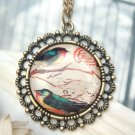 Retro Copper Bird Necklace Pendant Vintage Style
