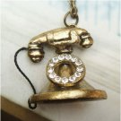 Swarovski Crystal Retro Copper Old Phone Necklace PendantVintage Style