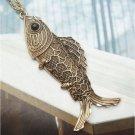 Swarovski Crystal Retro Copper Fish Necklace Pendant Vintage Style