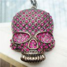 Swarovski Crystal Siler Plated Skull Necklace Pendant Vintage Style