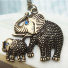 Swarovski Crystal Retro Copper Mother & Kid Elephant Necklace Vintage
