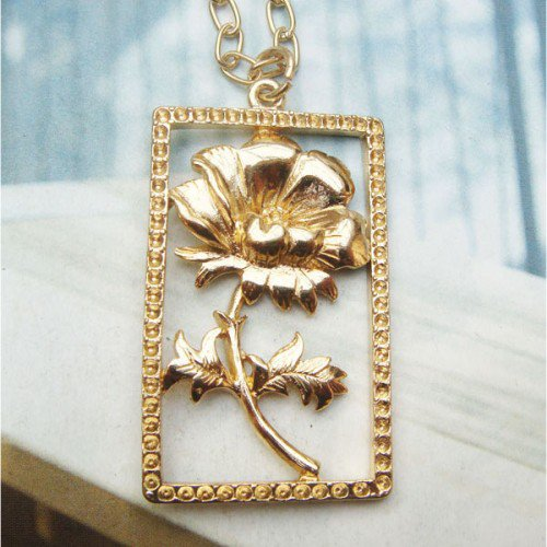 Copper Flower with Frame Necklace Pendant Vintage Style