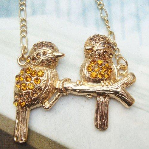 Swarovski Crystal Retro Copper Couple Bird Necklace Pendant Vintage