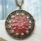 Swarovski Crystal Retro Copper Flower Disc Necklace Vintage Style