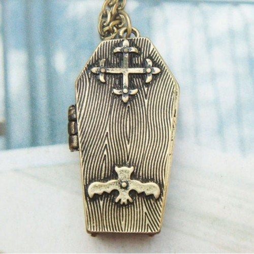 Retro Copper Coffin Locket Necklace Pendant Vintage Style
