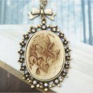 Swarovski Crystal Retro Copper Beauty Cameo Necklace Vintage Style