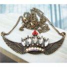 Swarovski Crystal Retro Copper Crown Necklace Pendant Vintage Style