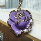 Retro Copper Rose Necklace Pendant Vintage Style