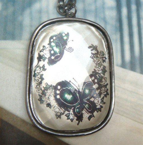 Retro Copper Butterfly Pendant Necklace Vintage Style