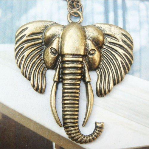 Large Retro Copper Elephant Necklace Pendant Vintage Style