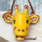 Elegant Retro Brass Crystal Giraffe design Pendant Necklace