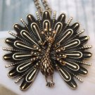 Elegant Brass Peacock design Pendant Necklace T