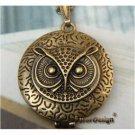 Elegant Retro Brass Owl design Locket Pendant Necklace
