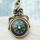 Retro Copper Compass Necklace Pendant Vintage Style