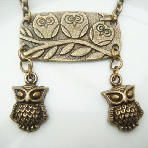 Retro Brass Owl Pendant Necklace