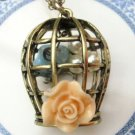 Retro Brass Flower Bird Cage Pendant Necklace