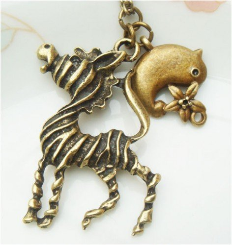 Retro Brass Zebra Bird Necklace
