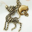 Retro Brass Zebra Bird Necklace