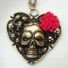 Retro Brass Skull Heart Necklace