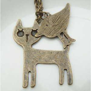 Retro Brass Cat Chicken Necklace