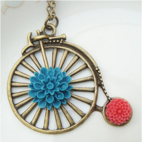 Retro Brass Old Style Bike Flower Necklace