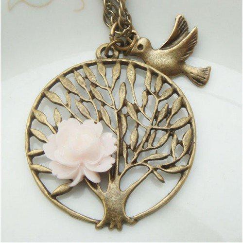 Retro Brass Tree Bird Flower Vintage Style Necklace