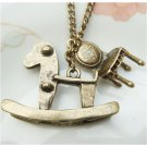 Retro Brass Hobbyhorse Chair Vintage Style Necklace
