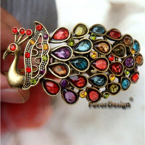 Pretty Copper Crystal Peacock Bracelet Cuff Vintage Style