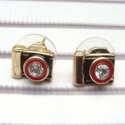 Antique Brass Swarovski Crystal Camera Ear Stud