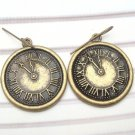 Antique Brass Clock Hook Earrings