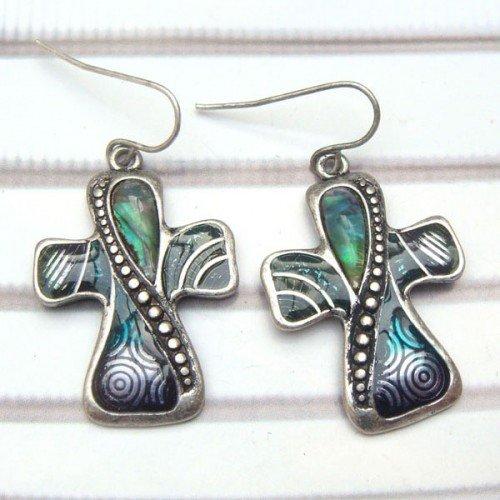 Silver Plated Antique Brass Cross Hook Earrings