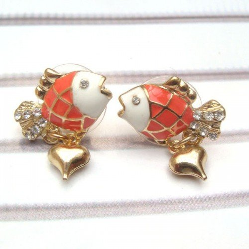 Antique Brass Swarovski Crystal Goldfish Ear Stud
