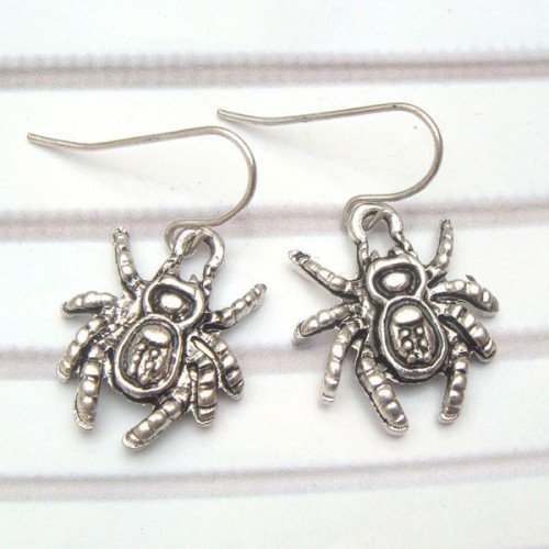 Silver Plated Antique Brass Spider Hook Earrings